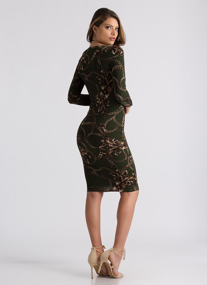 Show Me The Ropes Floral Print Dress OLIVE