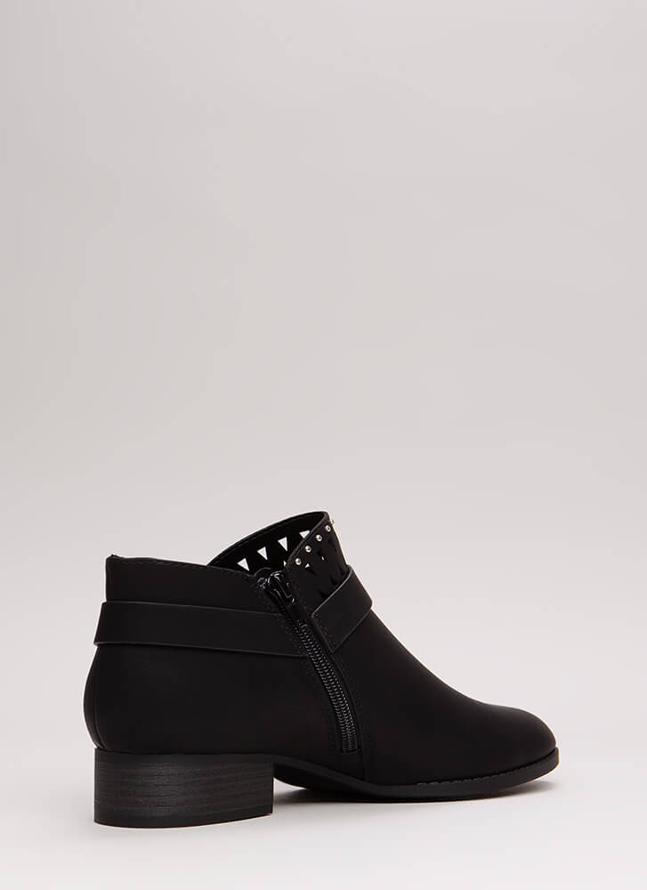 Fashion Duel Studded Cut-Out Booties BLACK