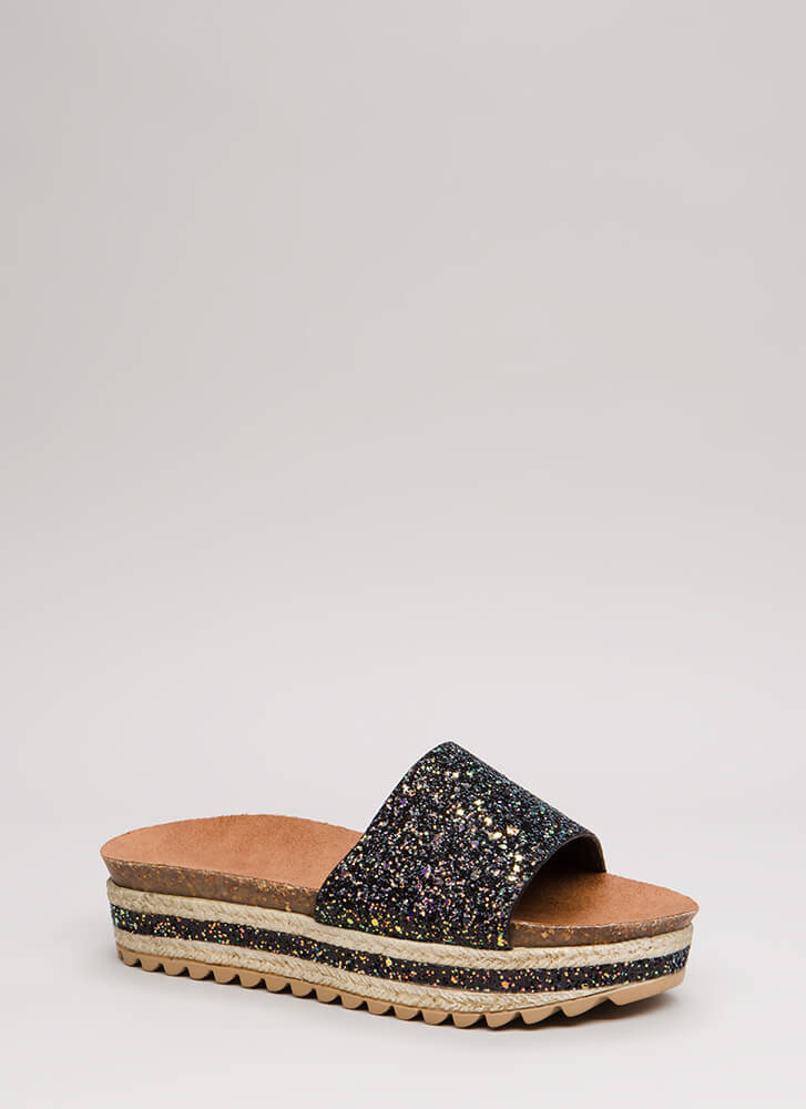 Great In Glitter Platform Slide Sandals BLACK