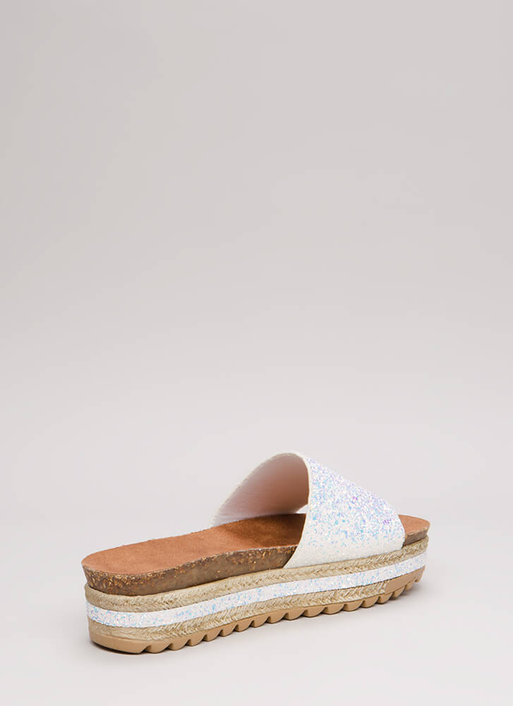 Great In Glitter Platform Slide Sandals WHITE