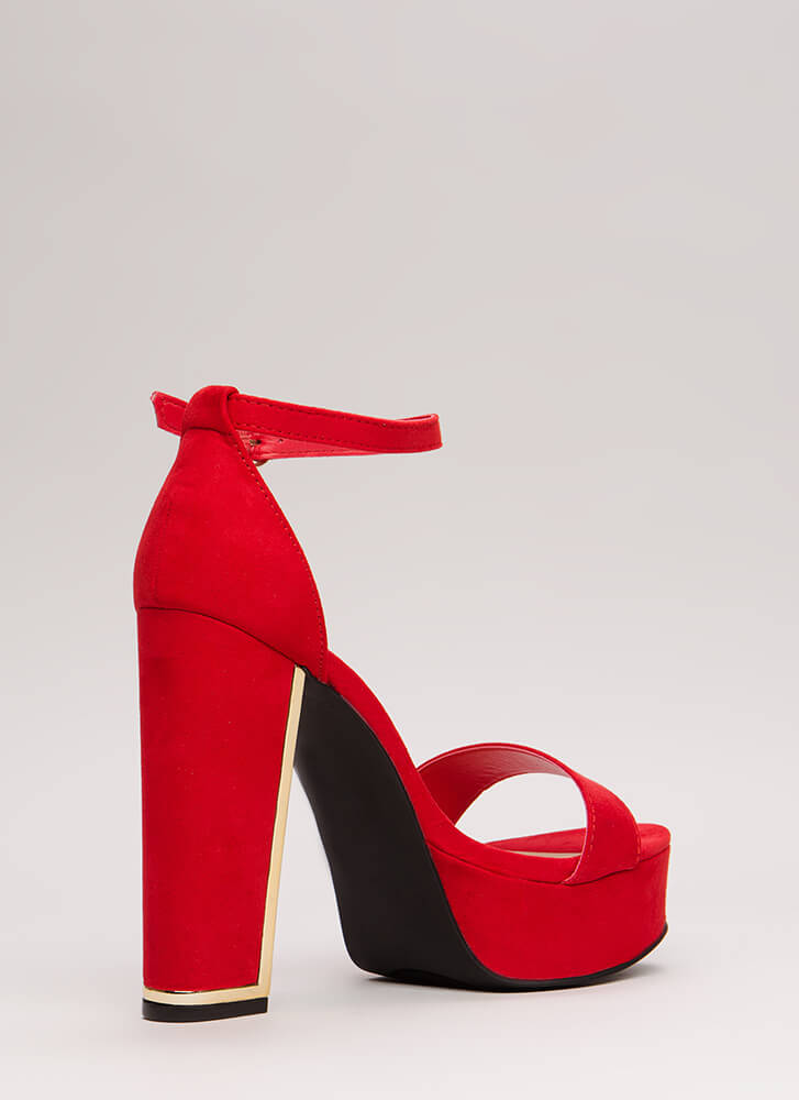 Some Shine Chunky Faux Suede Platforms RED