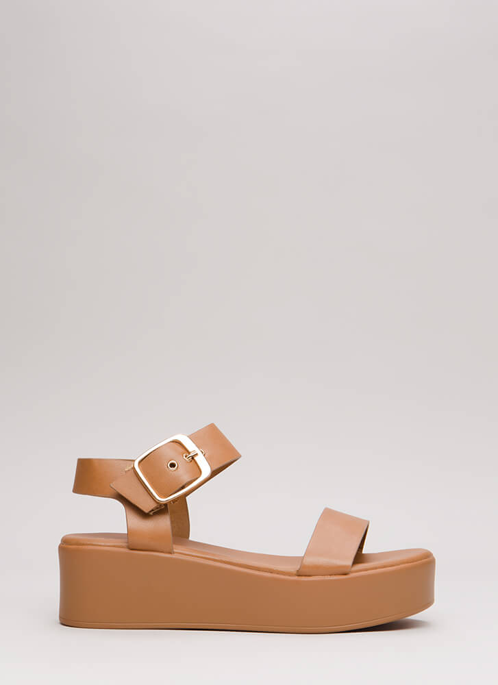Easy Day Faux Leather Platform Sandals TAN