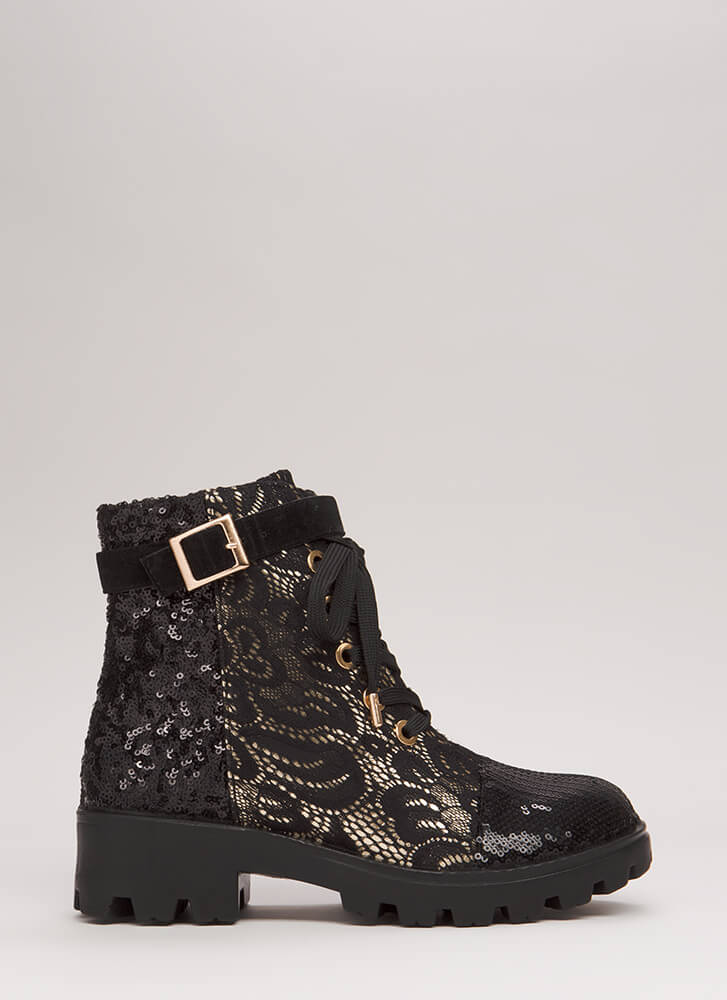 Stepping In Sequins Lace Combat Boots BLACK