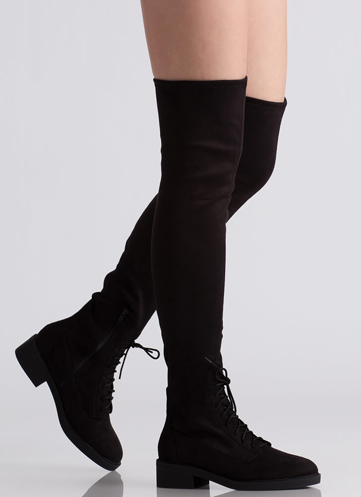 Down Low Lace-Up Thigh-High Boots BLACK