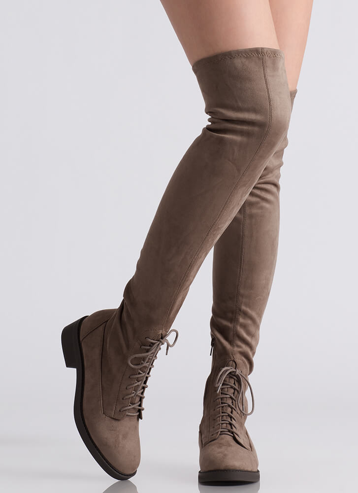 Down Low Lace-Up Thigh-High Boots SMOKETAUPE