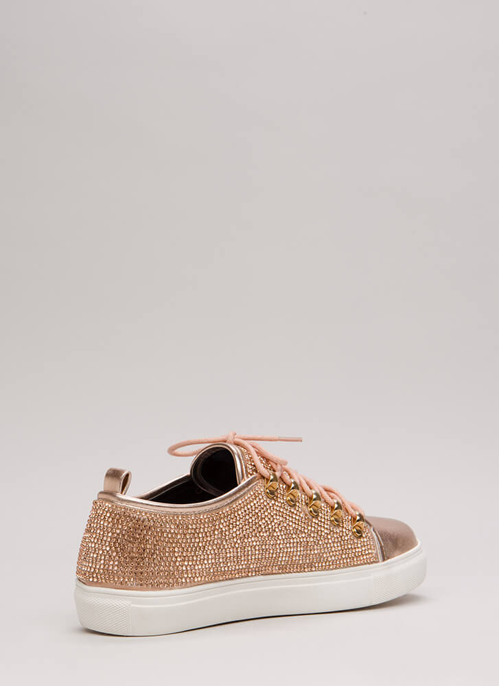 Sparkle On Jeweled Platform Sneakers ROSEGOLD
