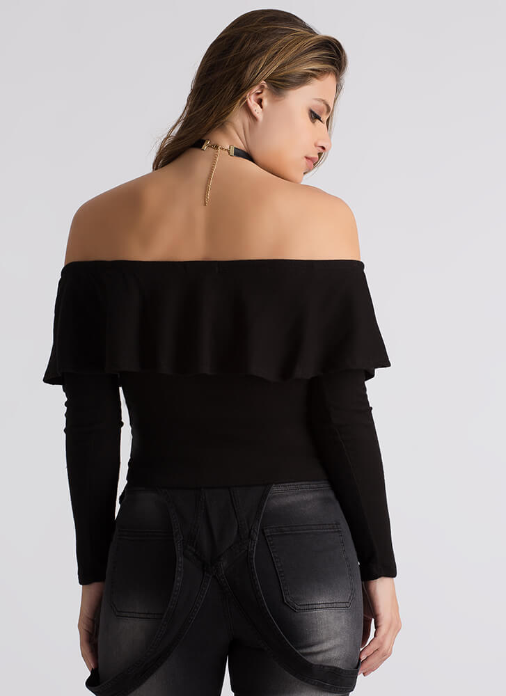 Knit's A Hit Ruffled Off-Shoulder Top BLACK