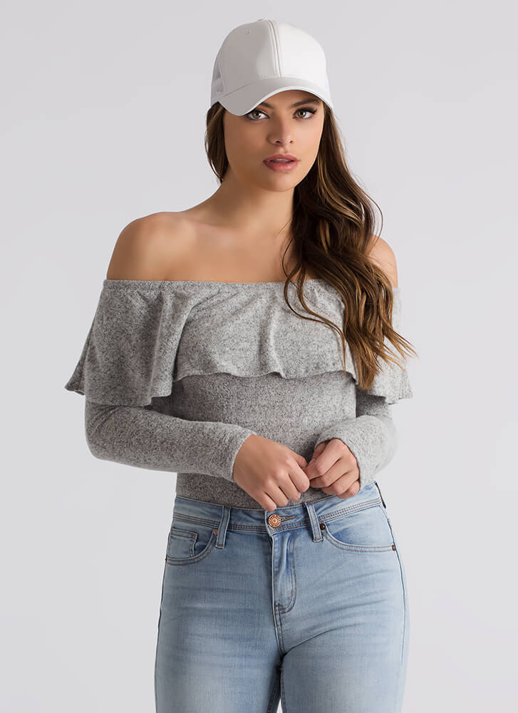 Knit's A Hit Ruffled Off-Shoulder Top HGREY