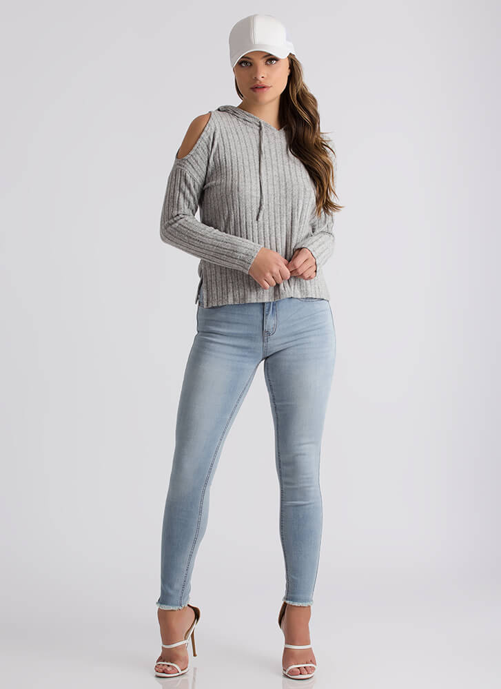 This Is Knit Cold-Shoulder Hoodie HGREY