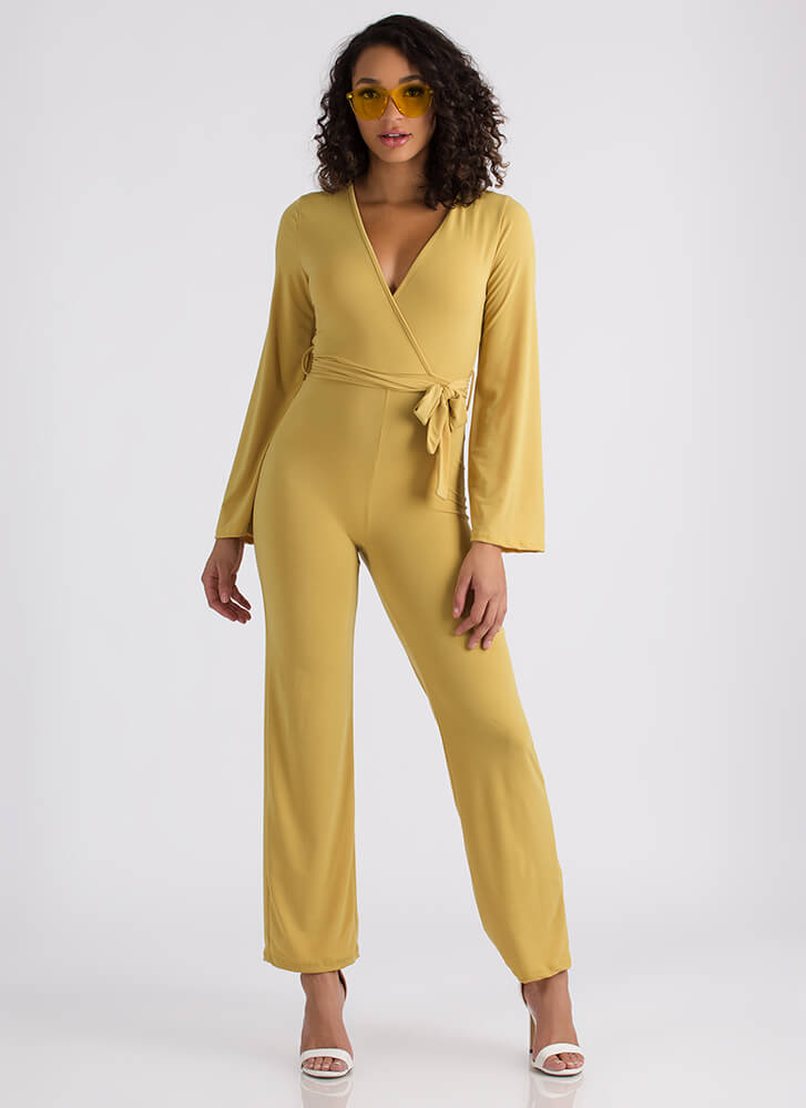 Wrap Your Head Around It Tied Jumpsuit MUSTARD