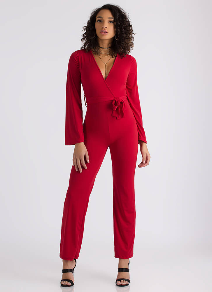 Wrap Your Head Around It Tied Jumpsuit RED