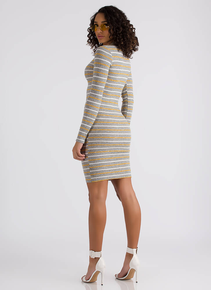 Lines Of Defense Striped Ribbed Dress MUSTARD