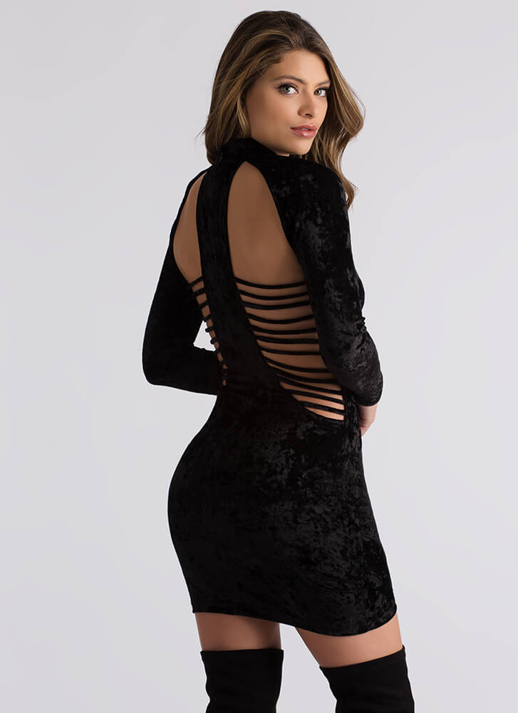 Cage Limit Strappy Crushed Velvet Dress BLACK