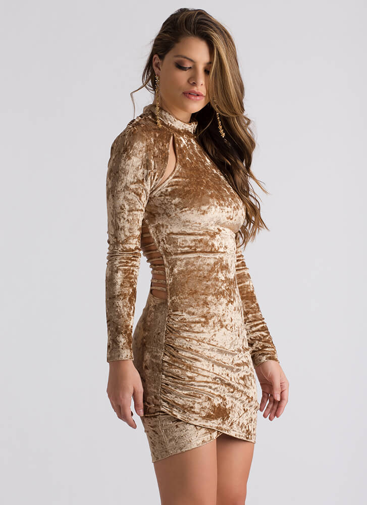 Cage Limit Strappy Crushed Velvet Dress MOCHA