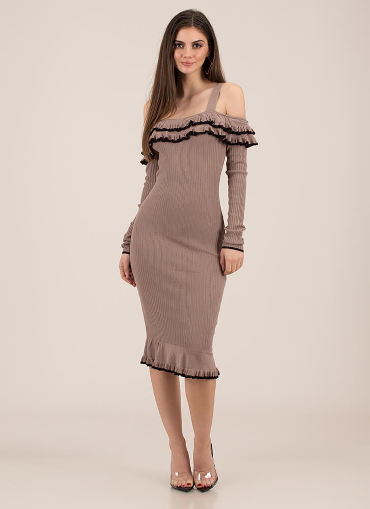 The Frill Of It All Ruffled Dress ALMOND