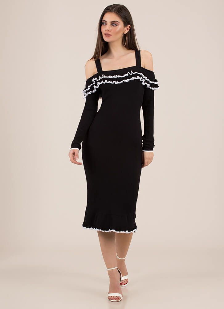 The Frill Of It All Ruffled Dress BLACK