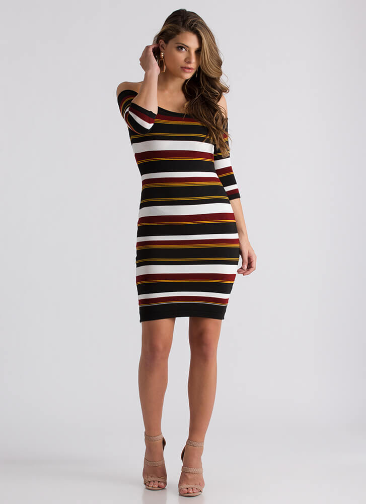 Learn Lines Striped Off-Shoulder Dress BURGUNDY