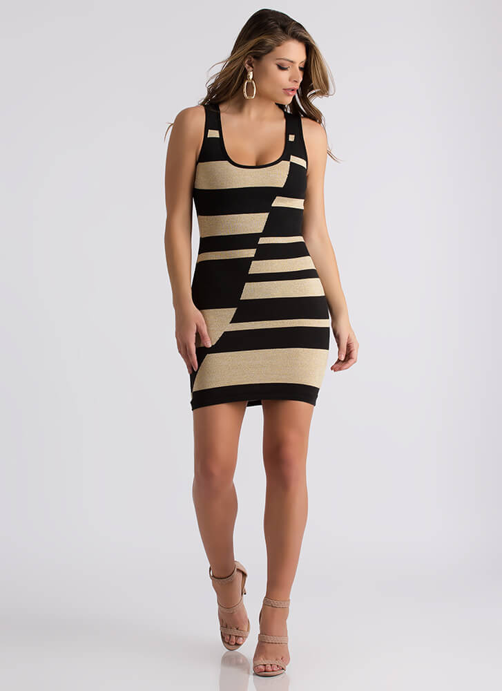 Glam And Glitter Abstract Striped Dress BLACKGOLD