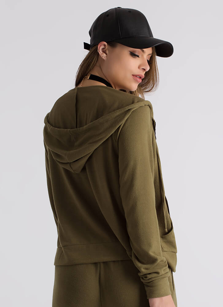 You've Gone Soft Knit Hooded Jacket OLIVE