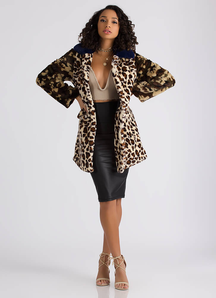 The Prowl Leopard And Camo Faux Fur Coat MULTI (Final Sale)