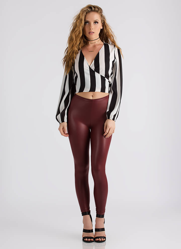 Hey Ref Striped Wrapped Blouse BLACKWHITE