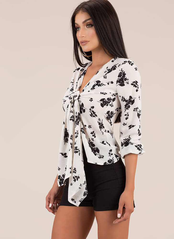 Just Blossoming Tie-Front Floral Blouse IVORY