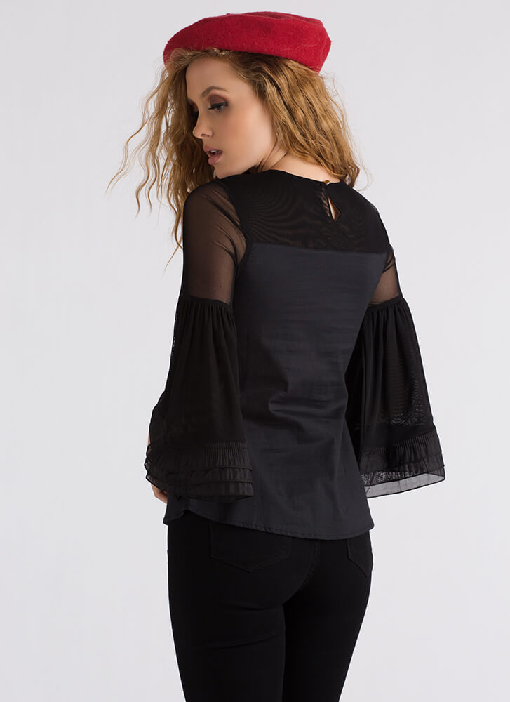 Put A Bow On It Bell-Sleeve Blouse BLACK