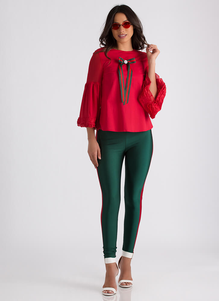 Put A Bow On It Bell-Sleeve Blouse RED