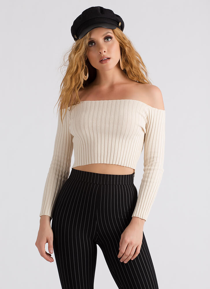 Good Day Ribbed Off-Shoulder Crop Top NATURAL