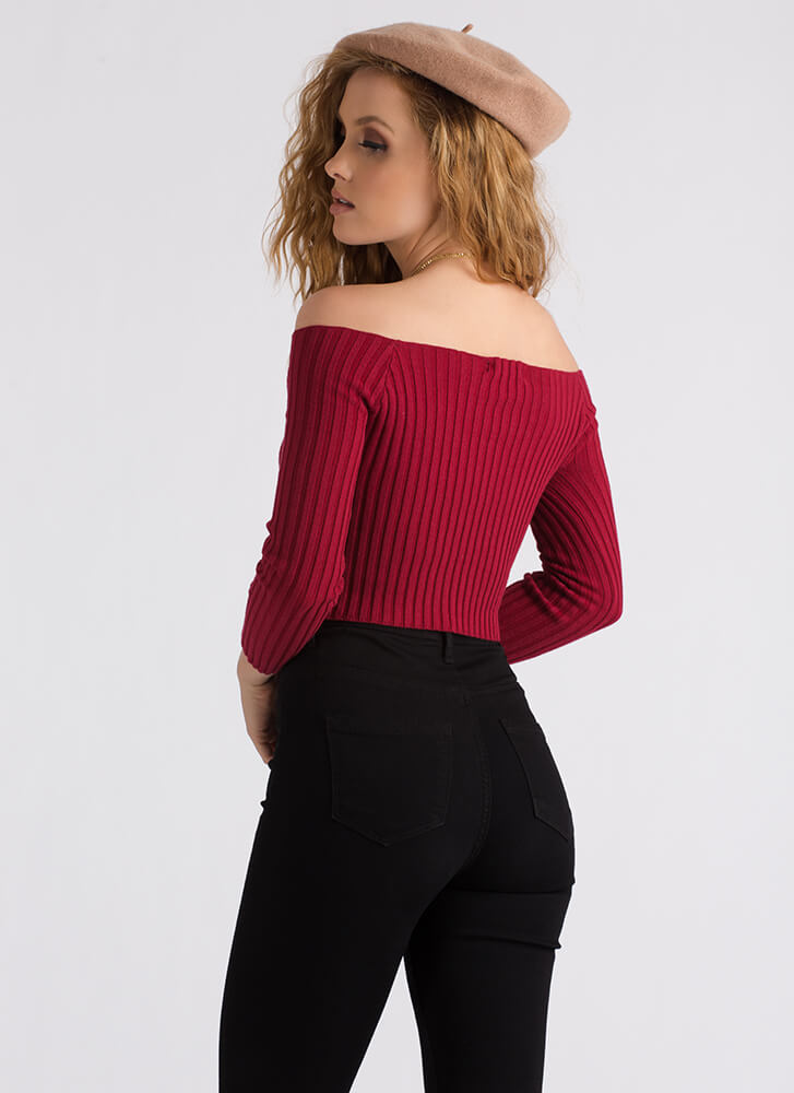 Good Day Ribbed Off-Shoulder Crop Top RED