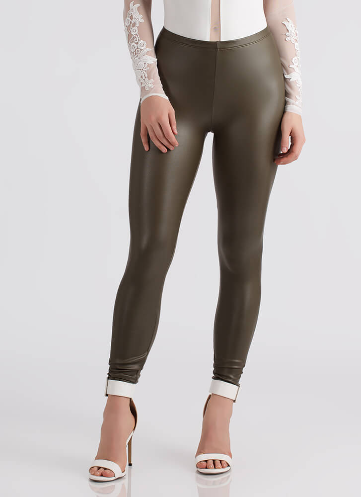 Smooth Operator Faux Leather Leggings OLIVE