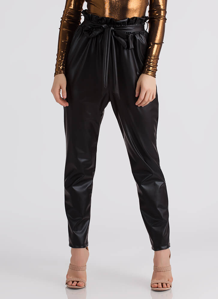 Throwback Chic Tied Faux Leather Pants BLACK