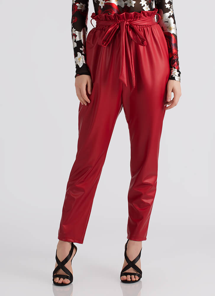 Throwback Chic Tied Faux Leather Pants RED