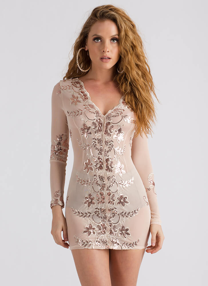 Vine Star Sequined Floral Mesh Dress NUDE