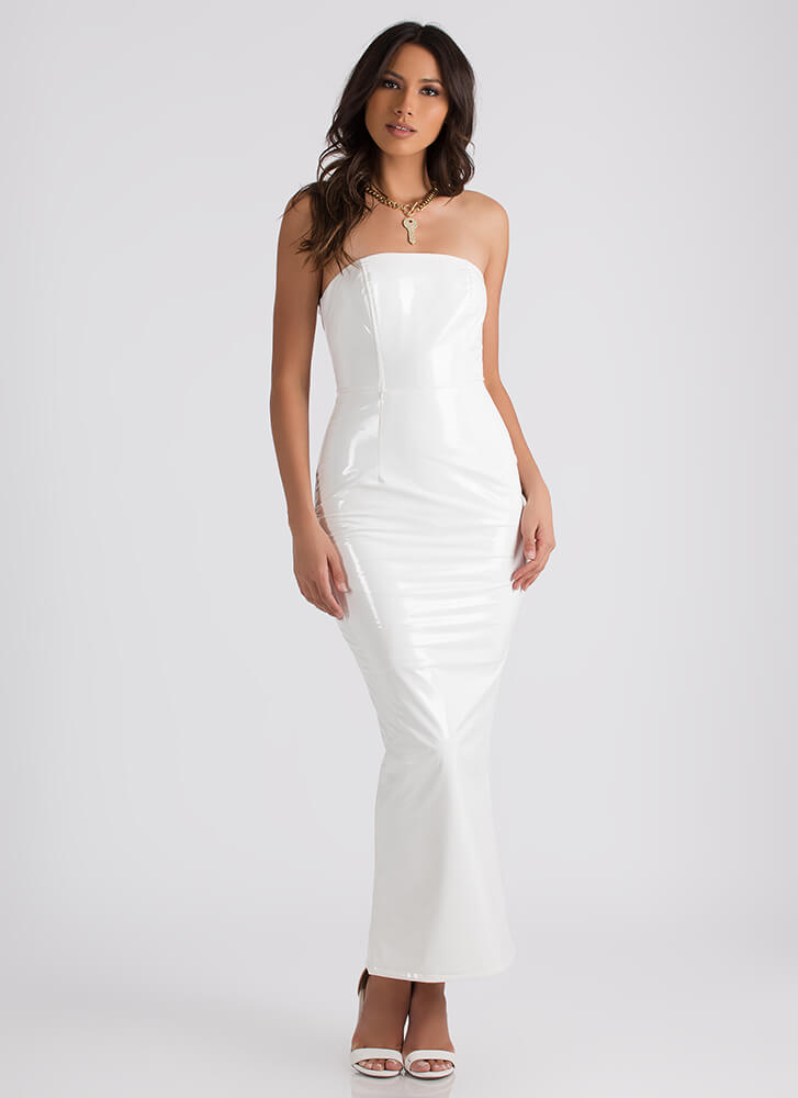 Sleek And Strapless Faux Leather Maxi WHITE