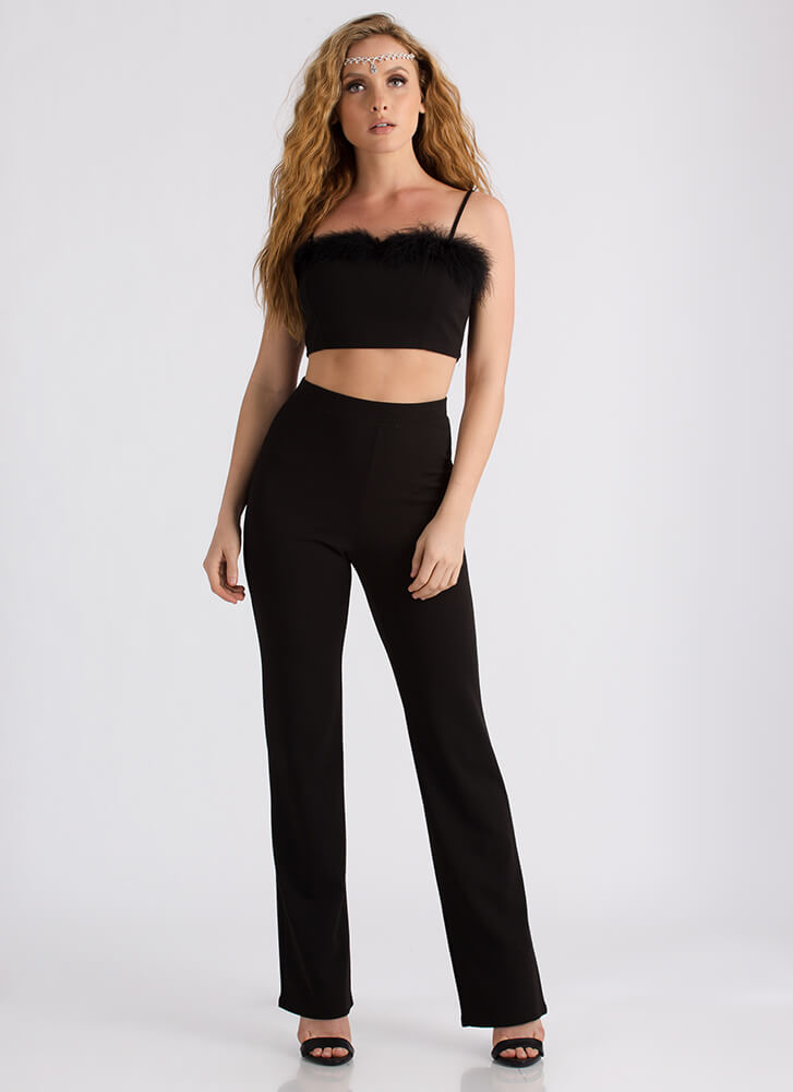 Feathered Friend Crop Top And Pant Set BLACK