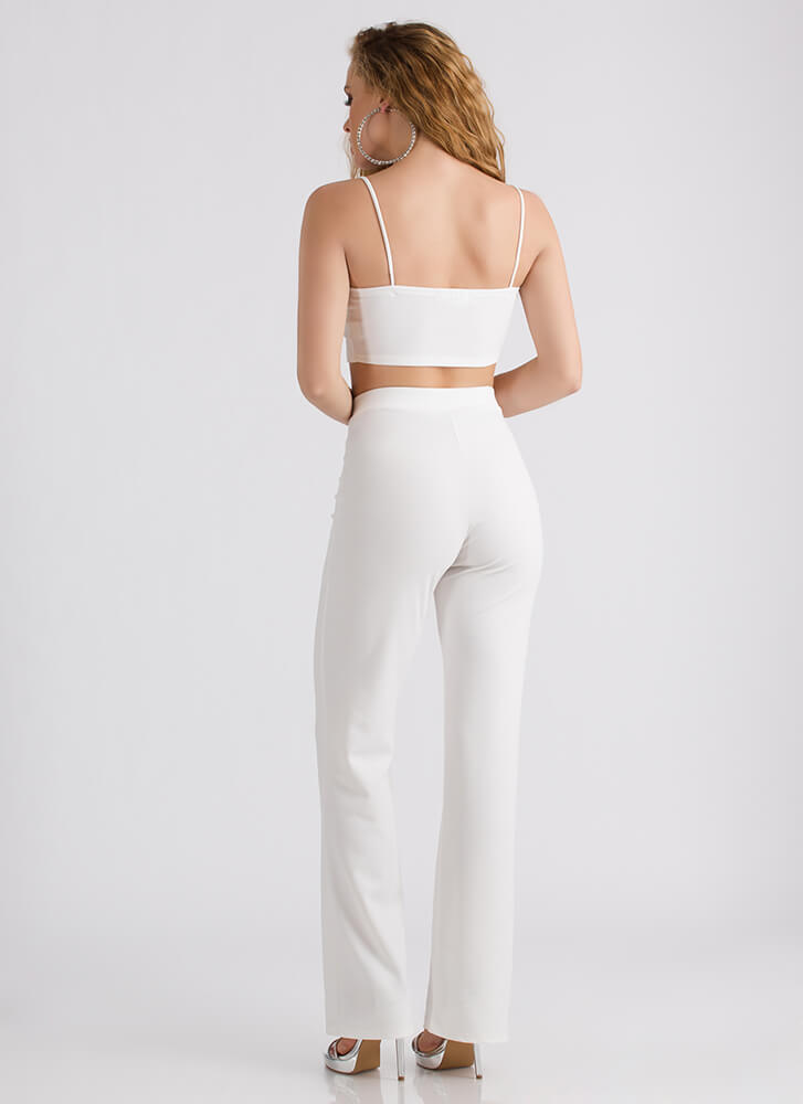 Feathered Friend Crop Top And Pant Set WHITE