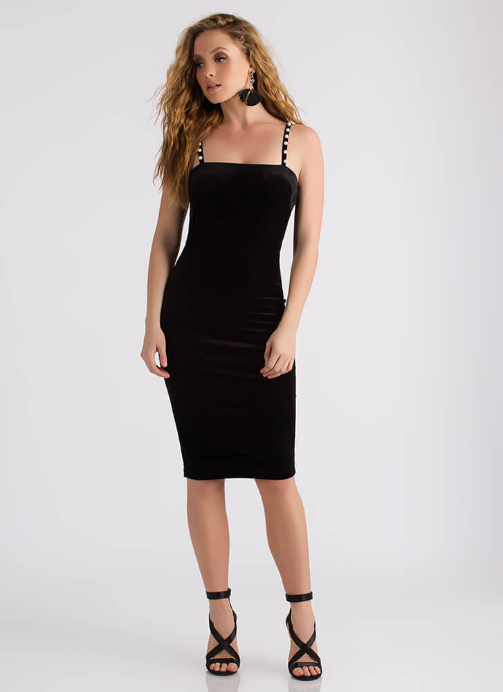 Strands Of Pearls Strappy Velvet Dress BLACK