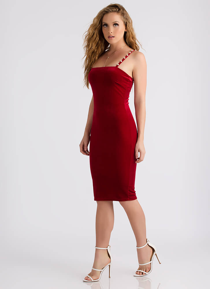 Strands Of Pearls Strappy Velvet Dress RED