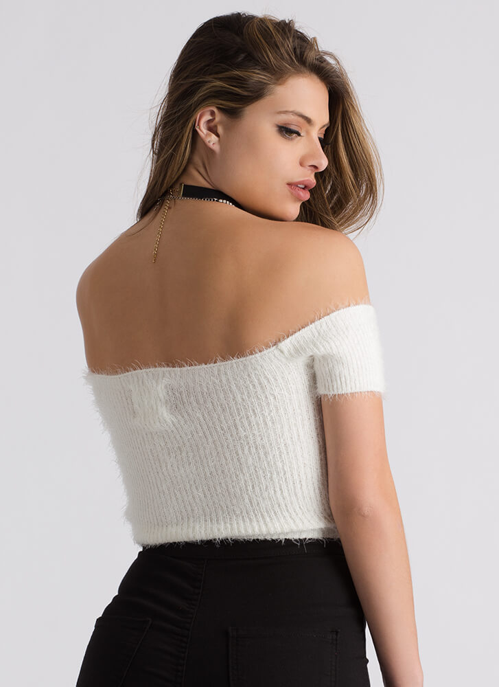 Fuzz Off Knit Off-Shoulder Crop Top IVORY