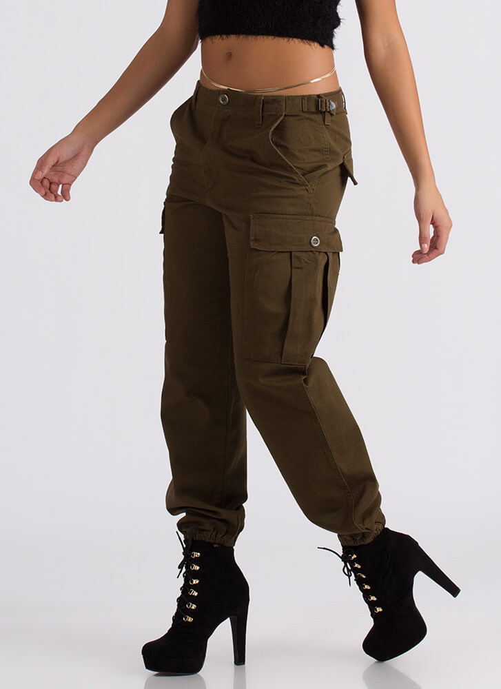 Are You That Somebody Baggy Cargo Pants OLIVE