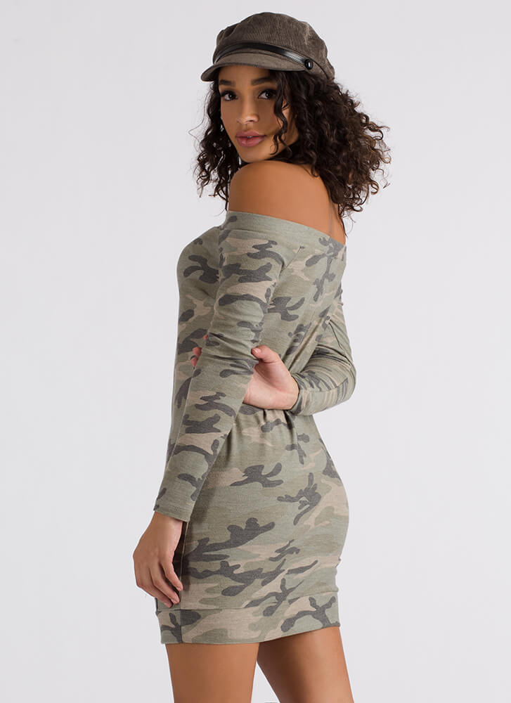 Compete With Camo Off-Shoulder Dress CAMOUFLAGE