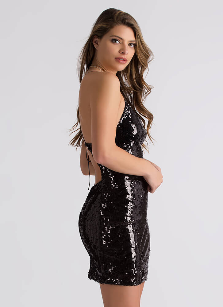 Stunning Sequined Lace-Back Minidress BLACK