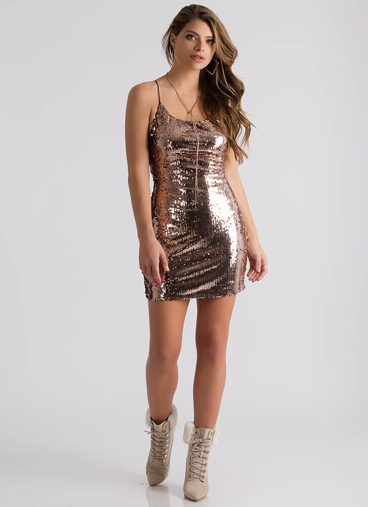 Stunning Sequined Lace-Back Minidress ROSEGOLD