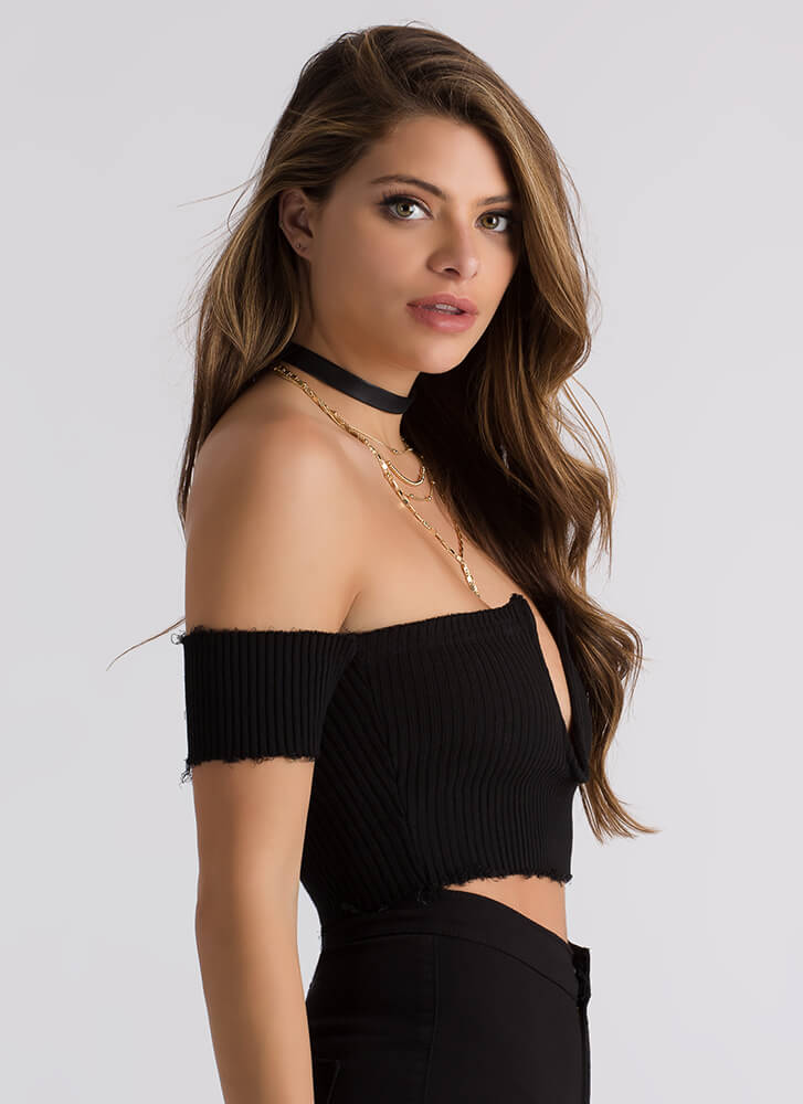 Bust Out My Off-Shoulder Crop Top BLACK