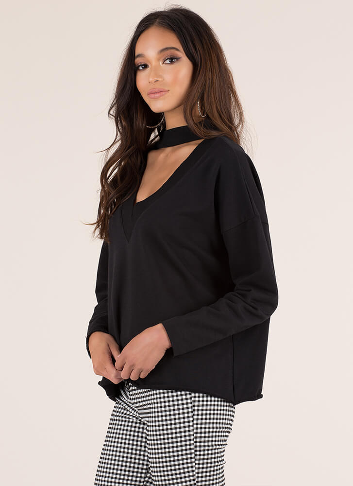 On A Roll Cut-Out Choker Sweatshirt BLACK