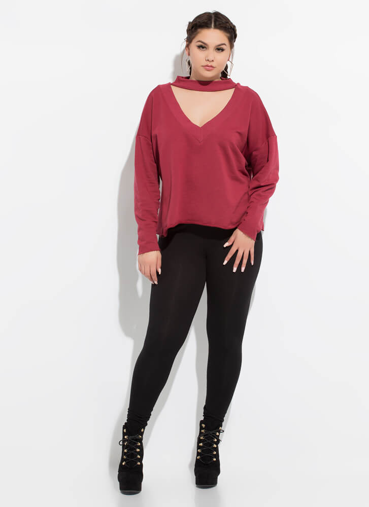 On A Roll Cut-Out Choker Sweatshirt BURGUNDY