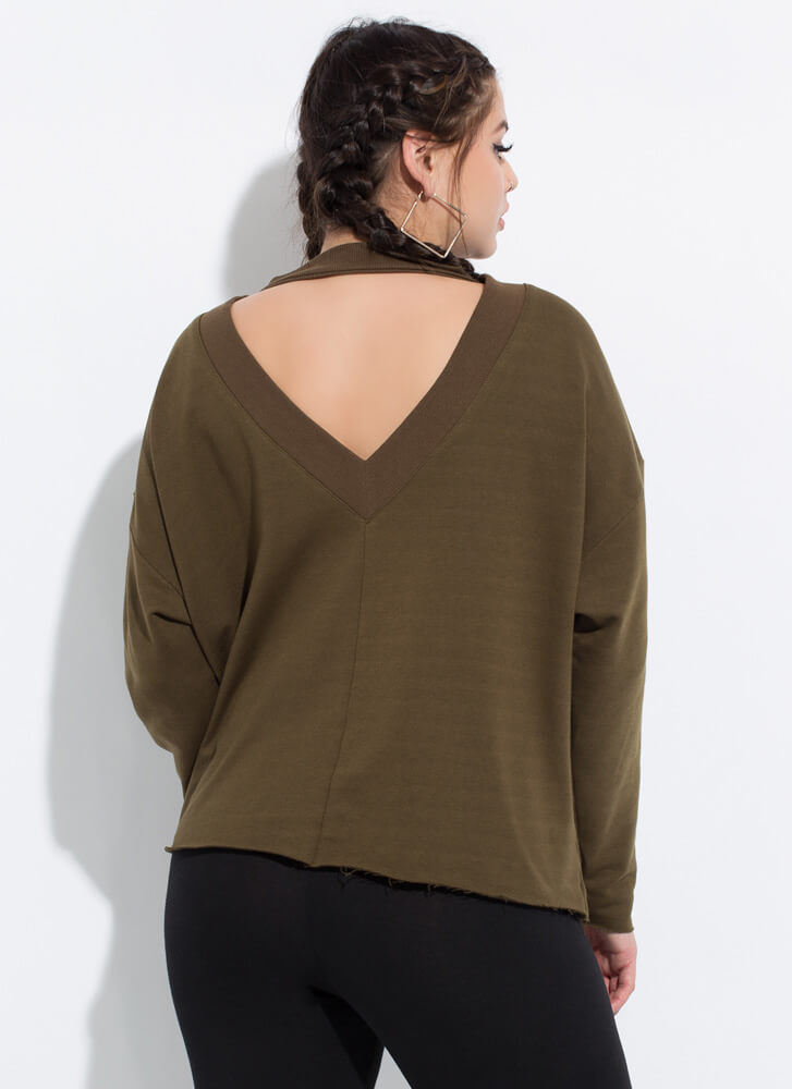 On A Roll Cut-Out Choker Sweatshirt OLIVE