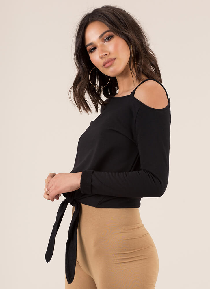 Details Knotted Off-Shoulder Sweatshirt BLACK