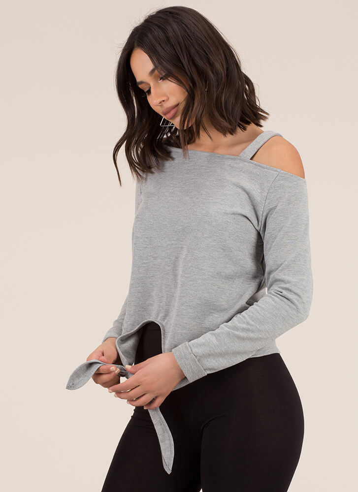 Details Knotted Off-Shoulder Sweatshirt GREY